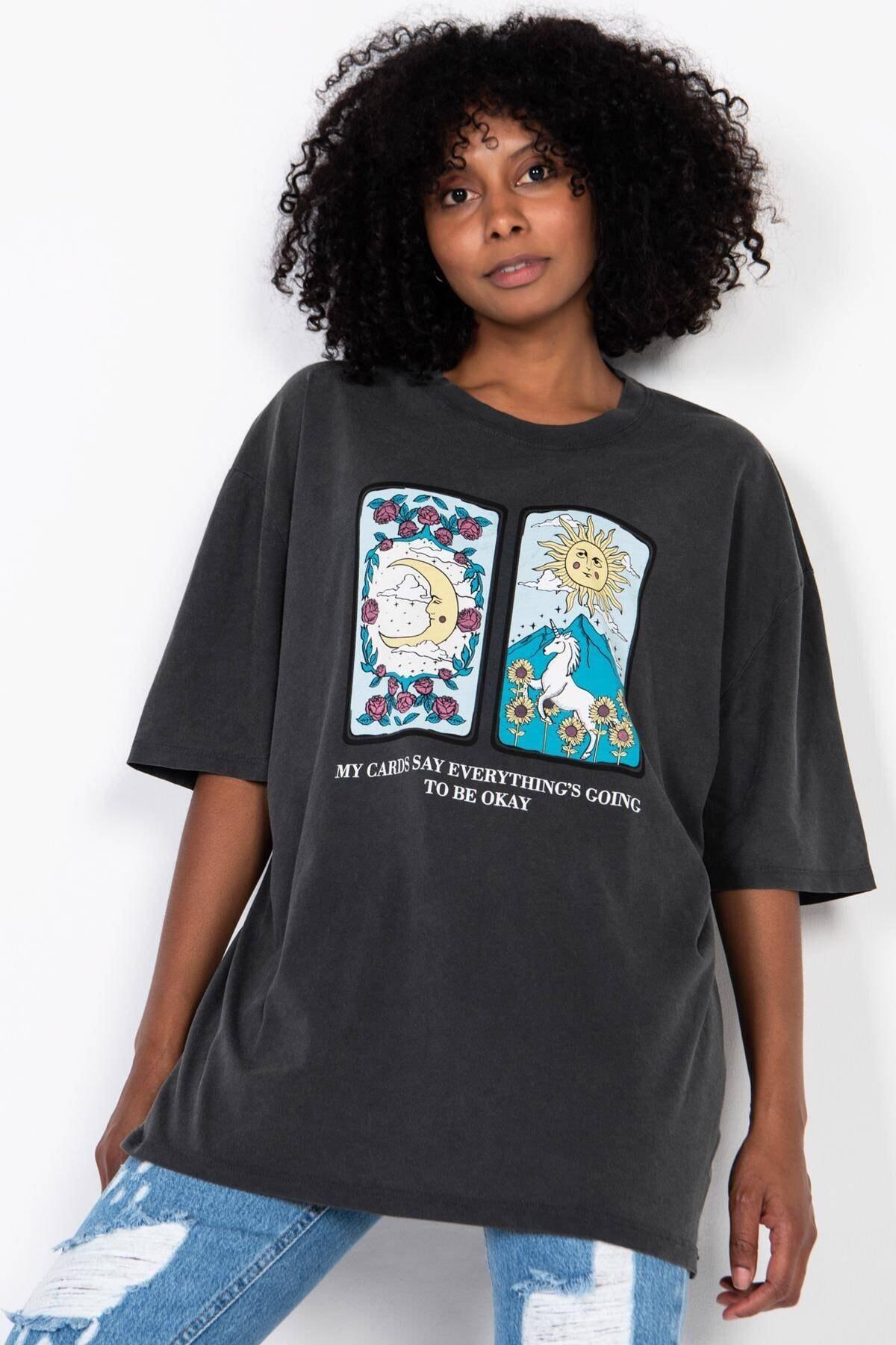 Addax Baskılı T-shirt P9432 - G11 1