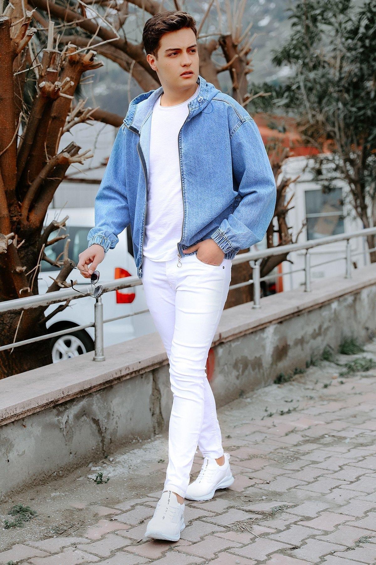 julude Erkek Beyaz Cepli Slim Jean Pantolon 1