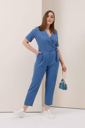 Gusto Ceket Yakalı Tulum - Mavi