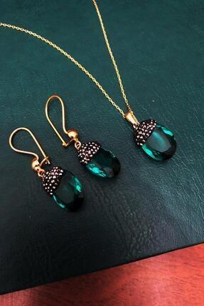 Dr. Stone Zümrüt Yeşili Hindistan Kristali Gümüş Set Xdrsott14