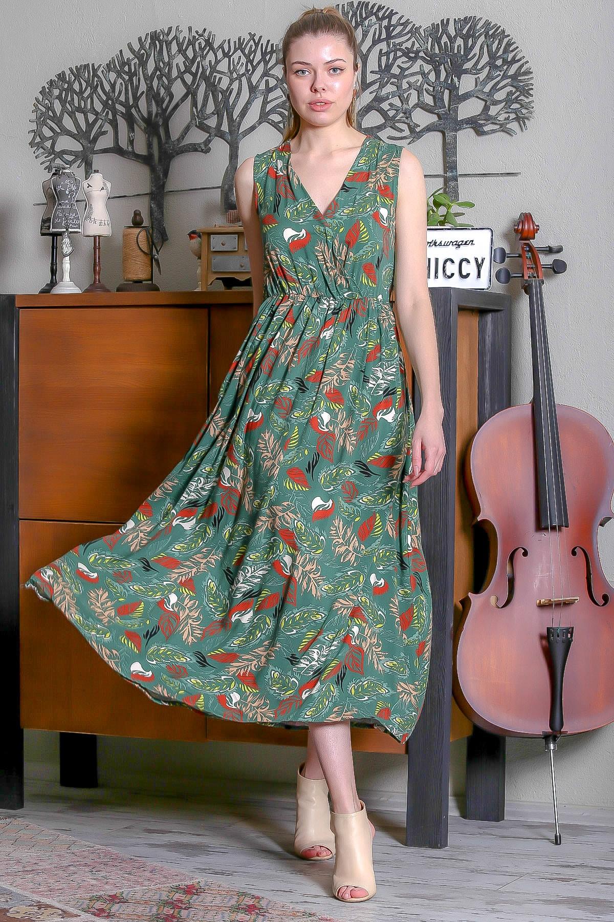 Chiccy Kadın Yeşil Kruvaze Yaprak Desenli Beli Lastikli Uzun Dokuma Elbise M10160000EL95350