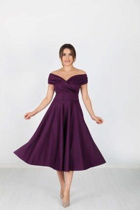 giyimmasalı Kayık Yaka Midi Elbise - Patlıcan Mor