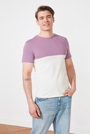 TRENDYOL MAN Mor Erkek Slim Fit Kısa Kollu Renk Bloklu T-Shirt TMNSS21TS2406