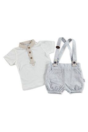 Bebemania Kız Bebek Mavi Kareli Askılı Gömlek Şort 2'li Takım