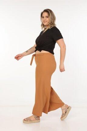 Womenice Kadın Büyük Beden Kahverengi Kurdelalı Bol Paça Pantolon