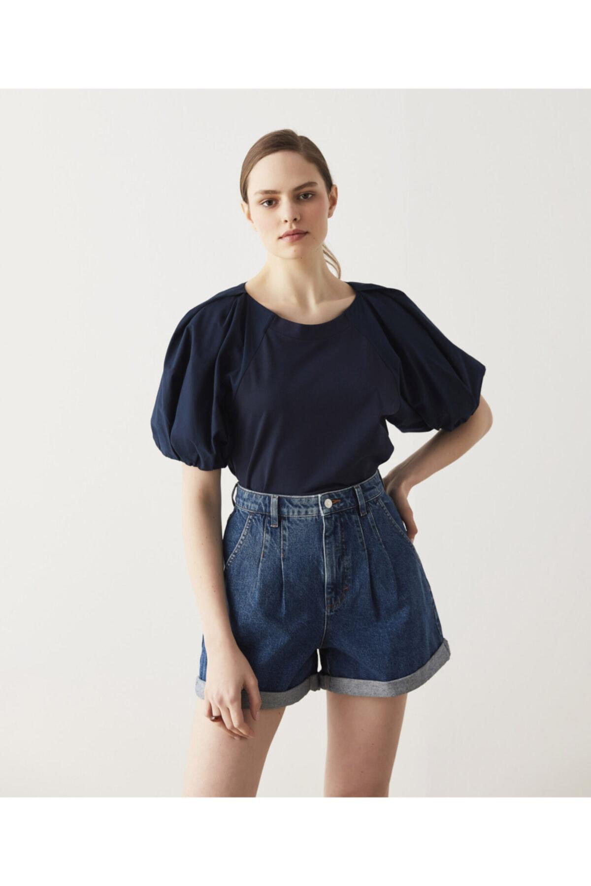 İpekyol Kadın Lacivert Balon Kol T-Shirt 1