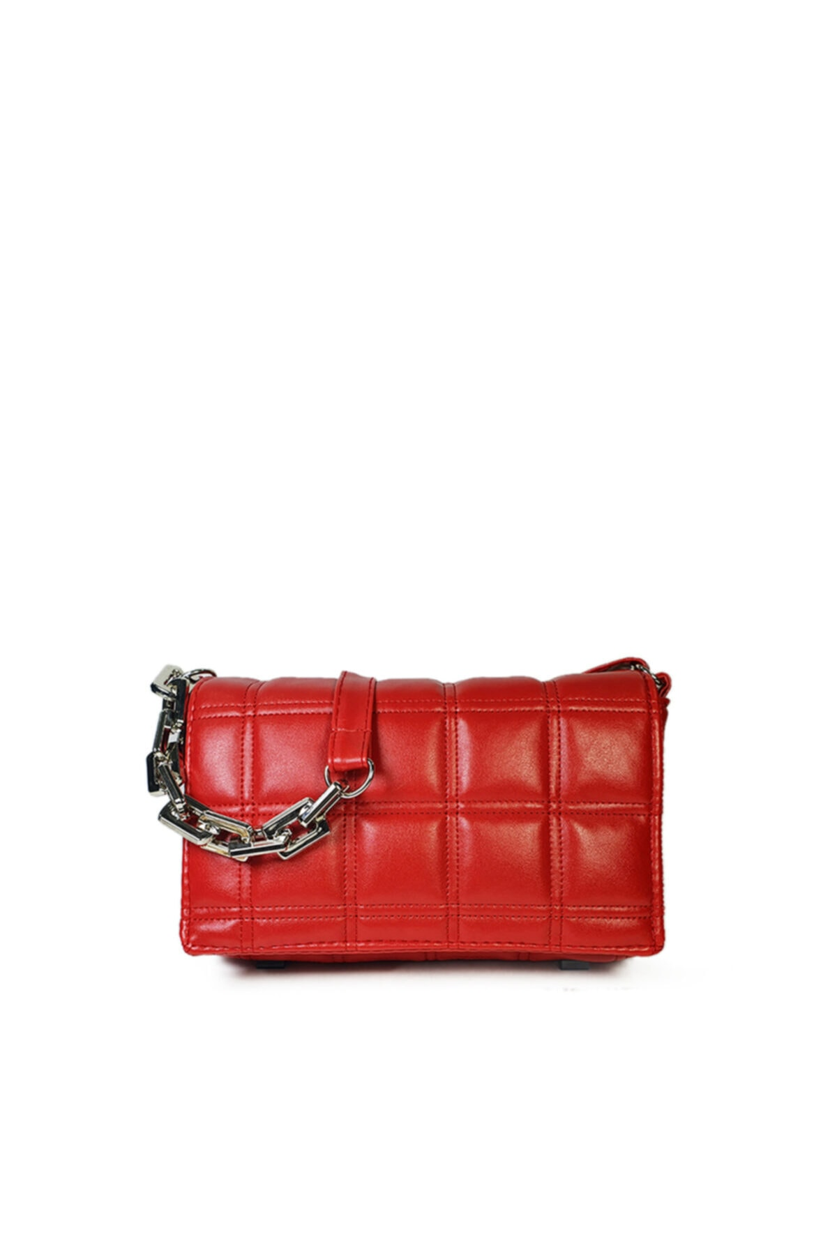 Güce Kırmızı Kare Nakışlı Plastik Zincirli Askılı El Ve Omuz Çantası Gc003402 1