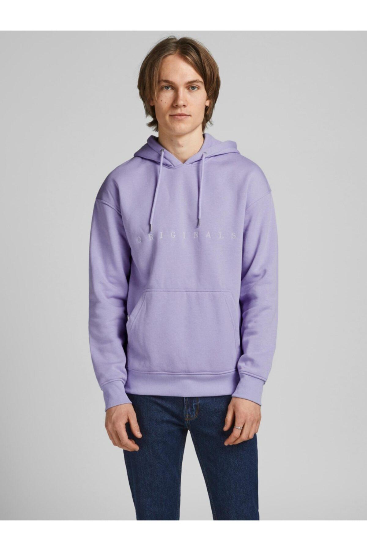 Jack & Jones Erkek Mor Kapüşonlu Sweatshirt 2