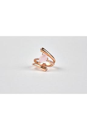 ATASAY Pink Quartz Taşlı Altın Yüzük