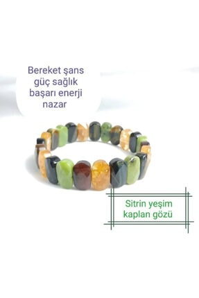 OSMANLI DEĞERLİ TAŞ Sitrin - Yeşim - Kaplan Gözü - Doğal Taş Rolex Bileklik