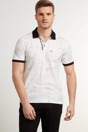 Network Erkek Slim Fit Beyaz Polo Yaka Logolu T-shirt 1078383