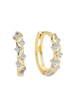 Gelin Pırlanta Gelin Diamond 14 Ayar Altın Sarmaşık Taşlı Halka Küpe 1.2 cm