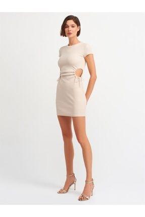Dilvin 9097 Kadın Pencere Detaylı Elbise-bej