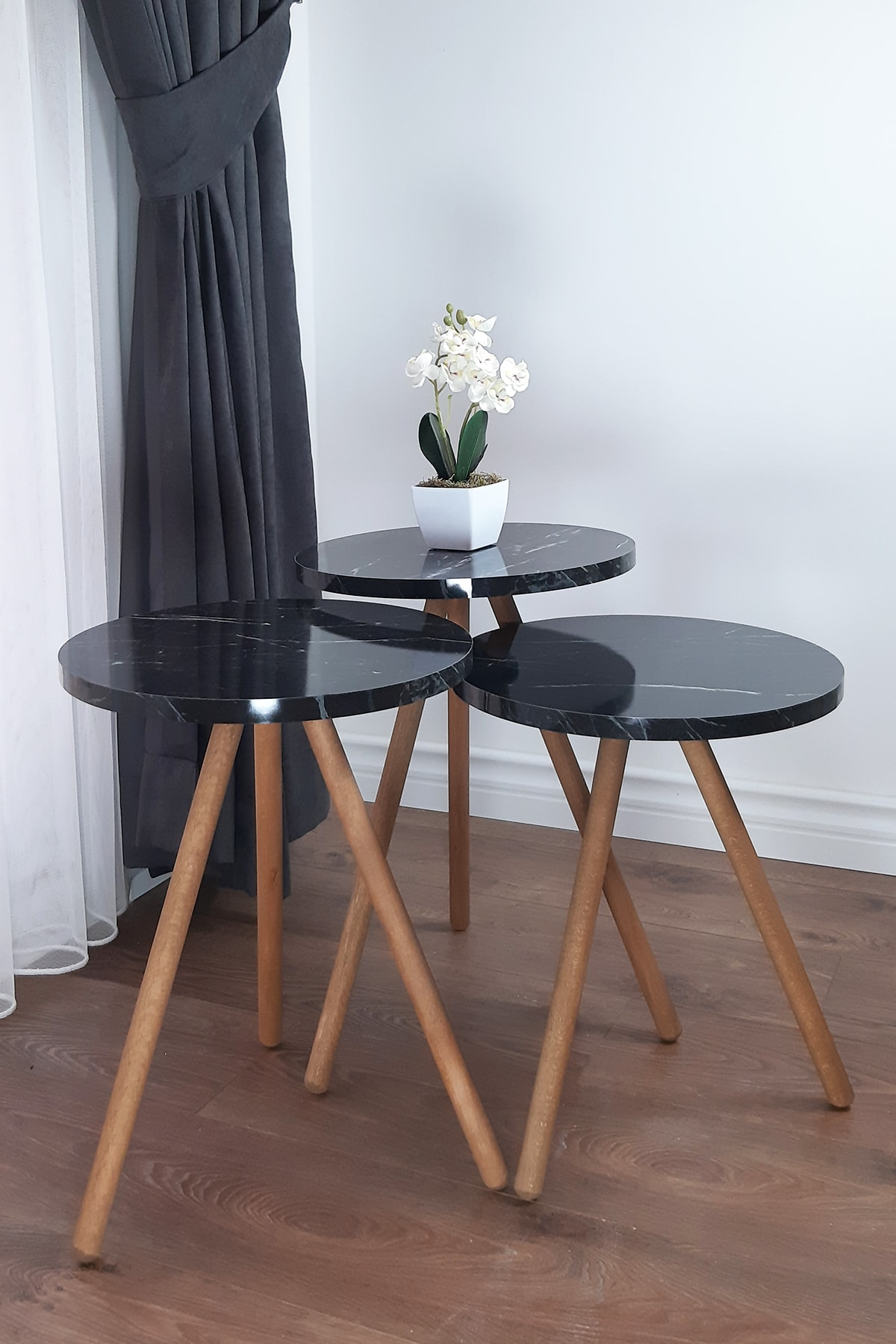 interGO Siyah Üçlü Zigon Sehpa Ahşap Ayaklı Yuvarlak Tasarım Bendir 1