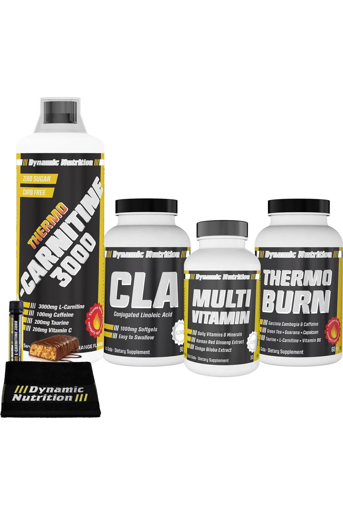 Dynamic Nutrition Thermo L-Carnitine 3000 mg 1000 ml+Thermo Burn 60 Tablet+CLA 90 Kapsül+Multivitamin 30 Tablet 1
