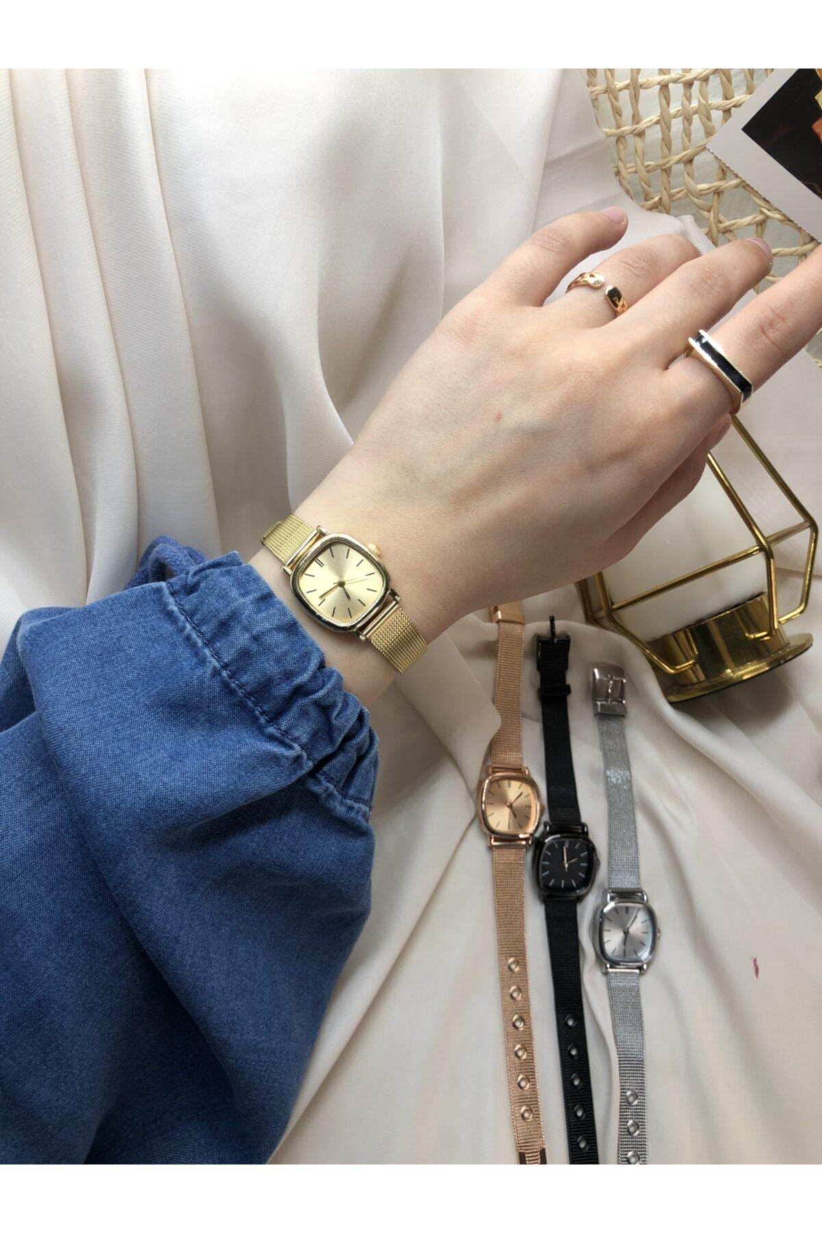 Ess Takı & Saat Retro Minimal Çelik Hasır Kordon Kadın Kol Saati -gold 1