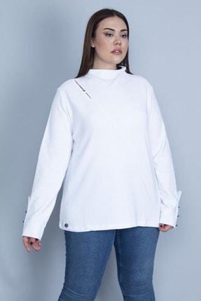 Şans Kadın Beyaz Göğüs Detaylı Kol Ağzı Metal Düğmeli Kendinden Çizgili Koton Kumaş Bluz 65N23302