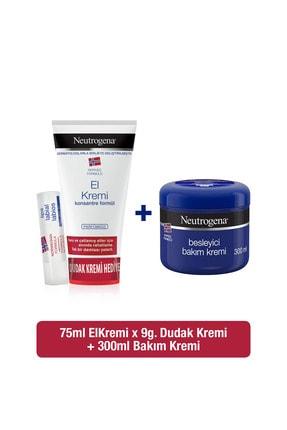 Neutrogena Parfümsüz El Kremi 75 ml + Besleyici Bakım Kremi 300 ml +Dudak Kremi Hediyeli