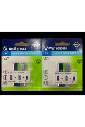 ATAELEKTRONİK 2 Adet Westinghouse 9v 200 Mah Şarj Edilebilir Pil Kare 9 Volt Pil Şarz Edilir