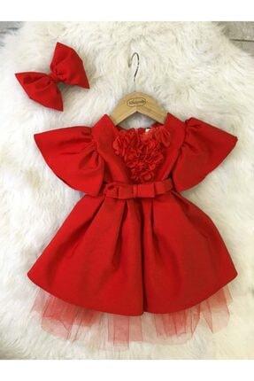 mialoveis Kız Bebek Kırmızı Karpuz Kol Çiçekli Elbise Toka Hediyeli