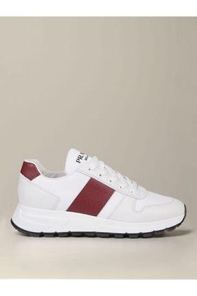 Prada Sport Erkek Beyaz Bağcıklı Sneaker