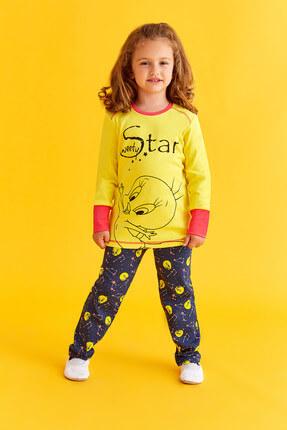 TWEETY Lisanslı Kız Çocuk Pijama Takımı Sarı 3-8 Yaş