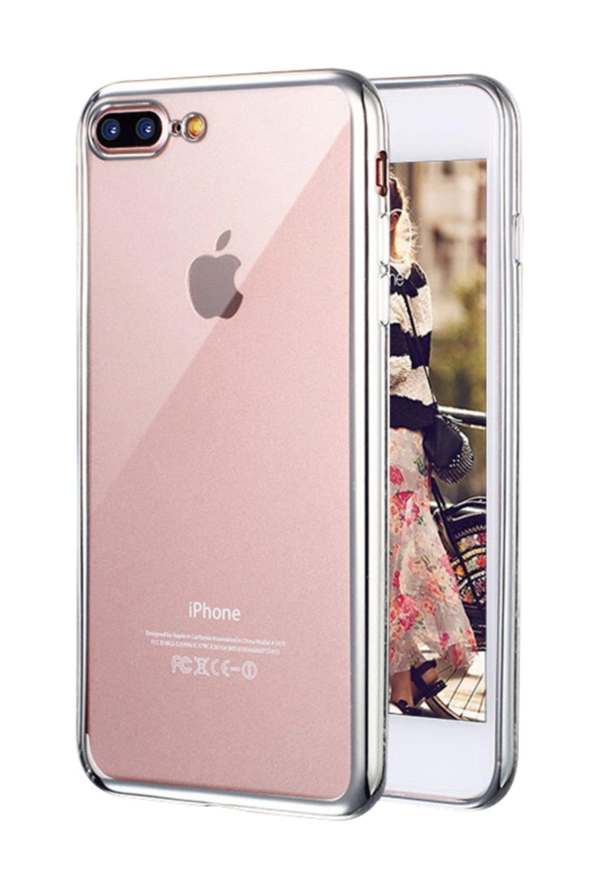 Microsonic Apple iPhone 8 Plus Kılıf Flexi Delux Gümüş 1