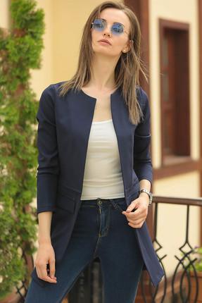 armonika Kadın Lacivert Beli Dikişli Uzun Ceket ARM-18K001308