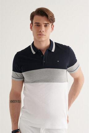 Avva Erkek Lacivert Polo Yaka Parçalı T-shirt A11y1025
