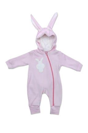 Murat Baby Pembe Kulaklı Ponponlu Tavşan Bebek Tulumu K2750
