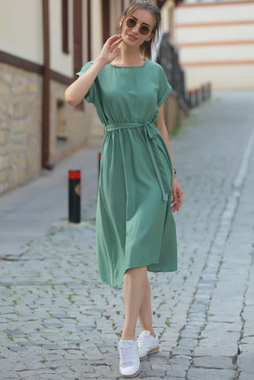 armonika Kadın Yeşil Beli Lastikli Bağlamalı Elbise ARM-18Y001133