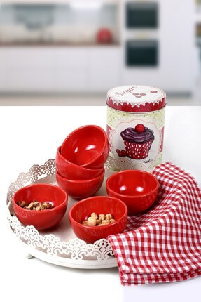 Keramika Kırmızı Bulut Mini Çerezlik / Sosluk 8 Cm 6 Adet