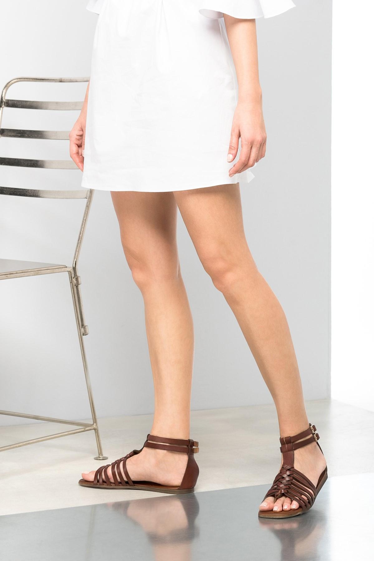 İnci Hakiki Deri Kahverengi Kadın Sandalet 120130000047 1