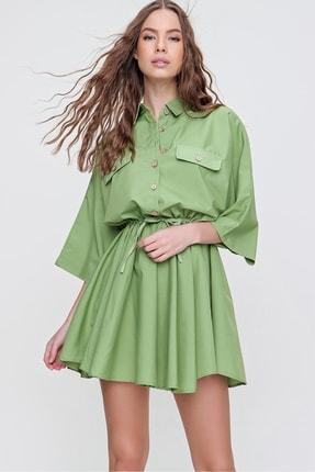 Trend Alaçatı Stili Kadın Yeşil Safari Dokuma Gömlek Elbise ALC-X6196
