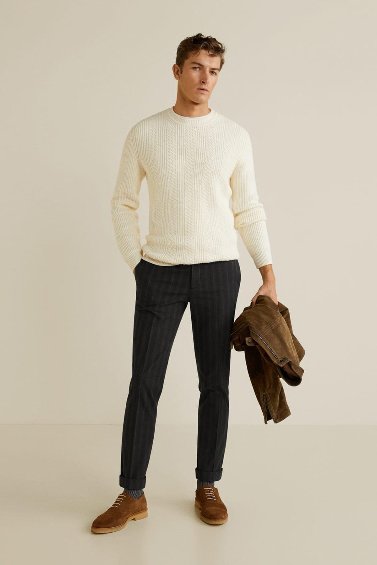 MANGO Man Erkek Siyah Çizgili Koton Pantolon 41040715 1