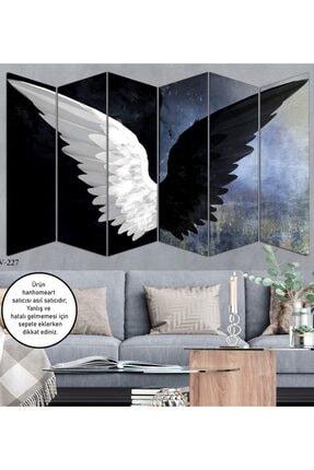 hanhomeart Siyah Beyaz Kanat 6 Parça Ahşap Duvar Tablo Seti