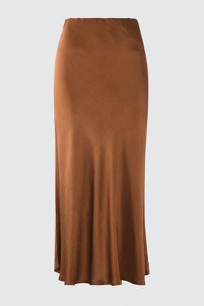 TRENDYOLMİLLA Kahverengi Volanlı Etek TWOSS21ET0128
