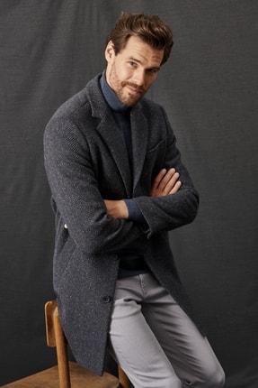 ALTINYILDIZ CLASSICS Erkek Lacivert-Gri Standart Fit Balıksırtı Desenli Klasik Kışlık Palto