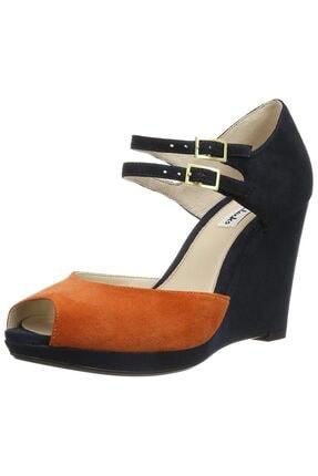 CLARKS Kadın Orange Süet Deri Ortopedik Ayakkabı Topuk 10 cm Kaymaz Taban