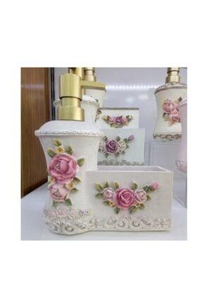 Kristal Polyester Gül Desenli Süngerlikli Sıvı Sabunluk