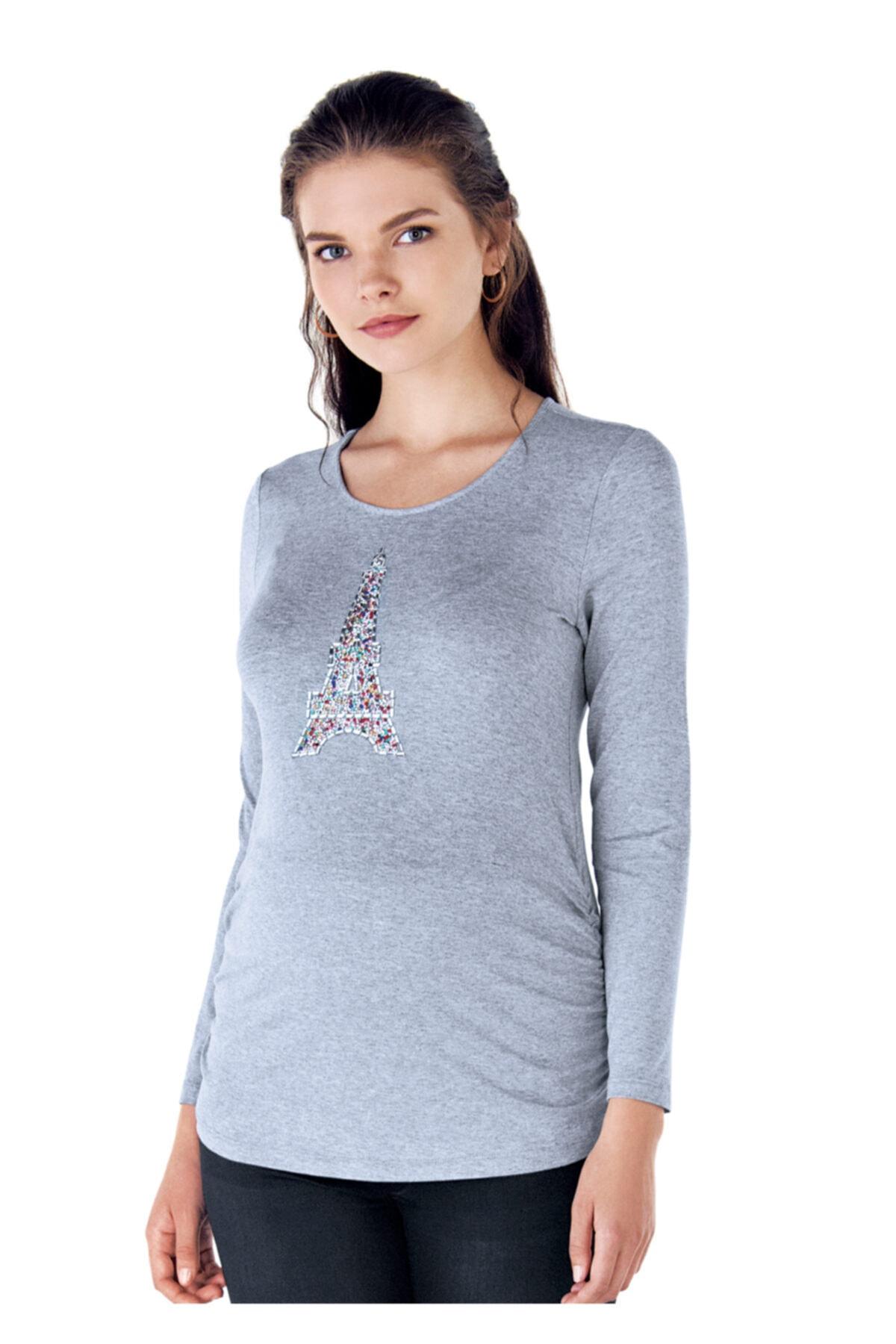 Ebru Maternity Kadın Renkli Taşlı Hamile T-Shirt 1