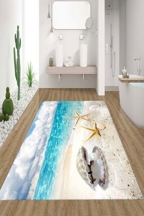 RISSE Dijital Baskılı Kaymaz Taban Yıkanabilir Sahil Ve Deniz Yıldızı Desenli Banyo Halısı