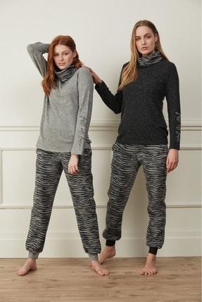 Feyza Gri Zebra Desenli Pijama Takım 3506
