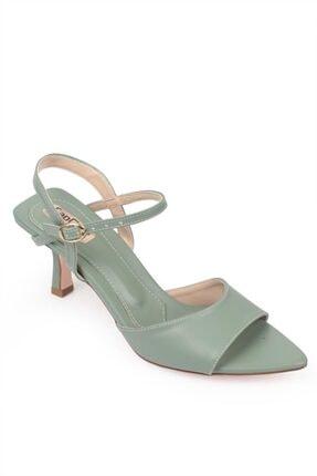 Capone Outfitters Kadın Mint Yeşili Topuklu Sivri Burun Arkası Bantlı Sandalet
