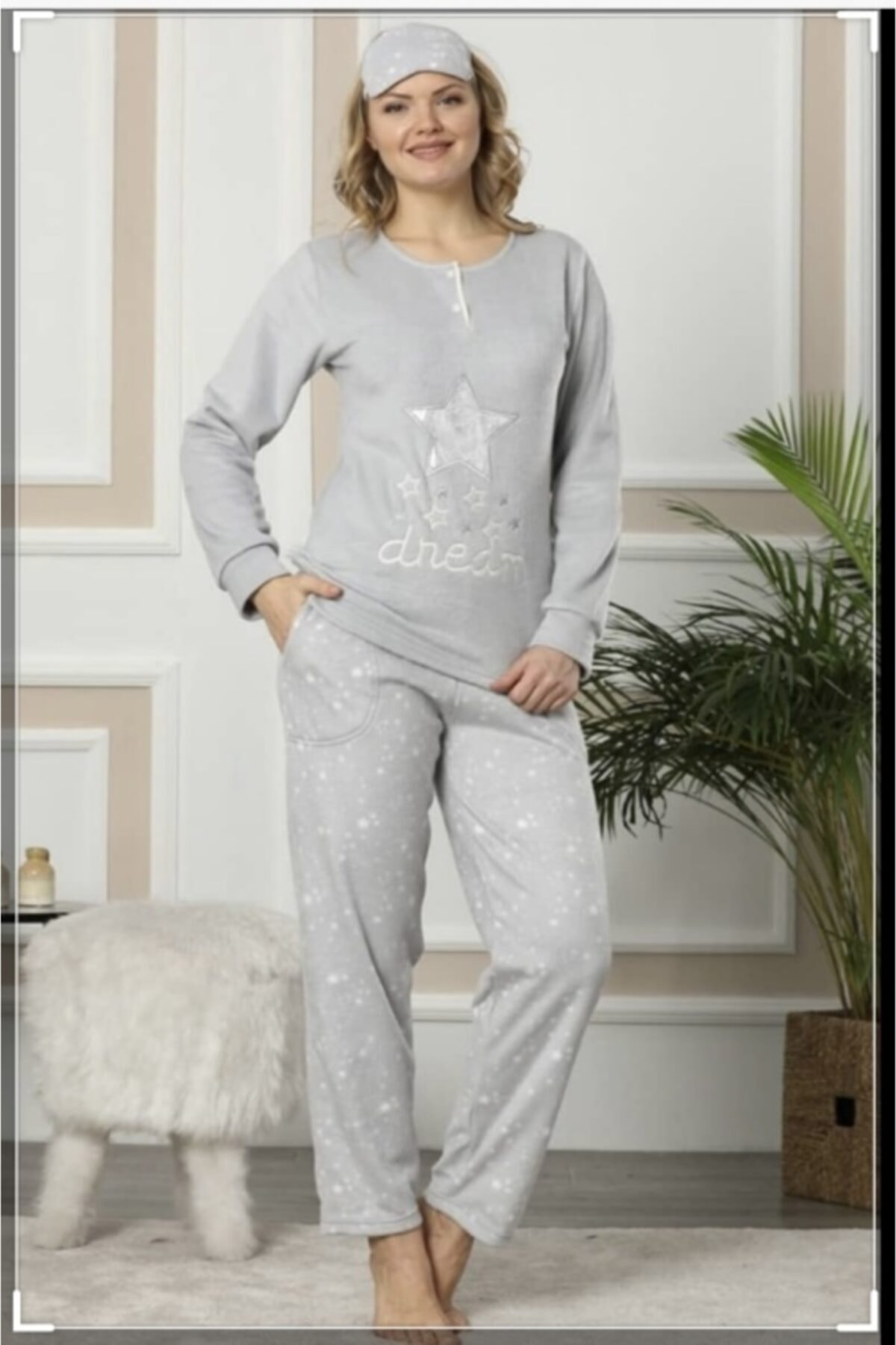 Pijamoni Kadın Gri Polar Pijama Takımı 2