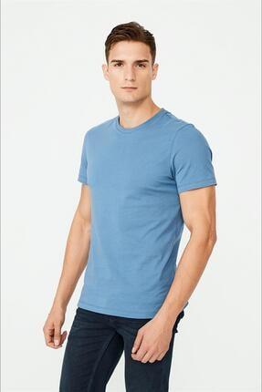 Avva Erkek Indigo Bisiklet Yaka Düz T-shirt E001000