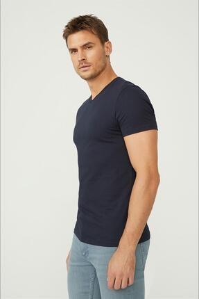 Avva Erkek Lacivert V Yaka Düz T-shirt E001001