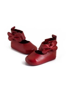 Pati Junior Deri Kırmızı Balerin Bebek Patik