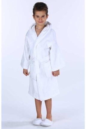 Özdilek Unisex Çocuk  Kapşonlu Kadife Bornoz Beyaz