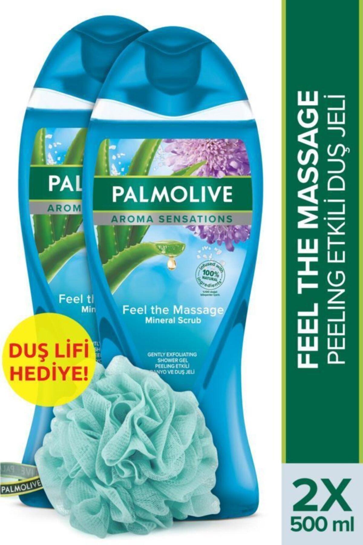 Palmolive Aroma Sensations Feel The Massage Cilt Yenileyici Duş Jeli 2 X 500 ml + Duş Lifi Hediye 1